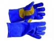 Lashandschoen blauw rund/splitleder